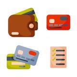 För plånboksymbol för plana pengar betalning för finans för valuta för kontant affär för köp för danande för lista för kontroll o Royaltyfria Foton