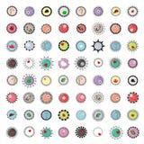 För placeholderknapp för emblem 46 och logoramar, objekt och löstagbar färginsida, totalt redigerbart Royaltyfri Fotografi