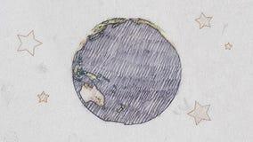 För planetjord för tecknad film penna dragen snurrande för jordklot på animeringen för ändlös ögla för vit gammal pappers- bakgru vektor illustrationer