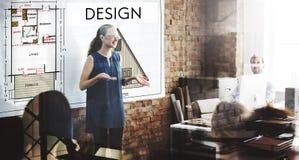 För planläggningsavsikt för design grafiskt idérikt begrepp för utkast arkivbilder