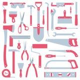 för plattångskruvmejsel för bakgrund hammare isolerad skiftnyckel för white för hjälpmedel set Royaltyfria Bilder