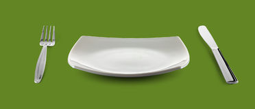 för plattasilverware för maträtt tom fyrkant royaltyfri bild