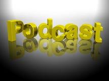 för podcastframförande för guld 3d ord Arkivbilder