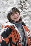 för pojke för scarftonår utomhus vinter Royaltyfri Fotografi