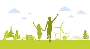 För pojkeflicka för kontur grön stad för lyckliga för körning händer för innehav med begrepp för miljö för ekologi för natur för  royaltyfri illustrationer