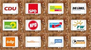 För politiskt partilogoer för Tyskland parlamentariska symboler Arkivfoto