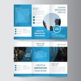 För polygonelegans för elegans minsta plan design för blå för affär trifold för affär för broschyr för broschyr för reklamblad ve stock illustrationer