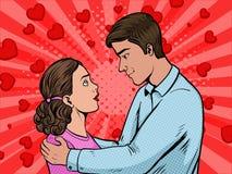 För popkonst för par förälskad illustration för vektor för stil stock illustrationer
