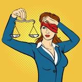 För popkonst för vektor hand dragen illustration av den unga kvinnan med Vågen Arkivfoton