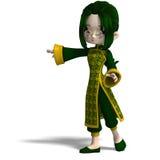 för porslinklänning för tecknad film 3d green för flicka rolig Royaltyfria Foton
