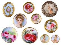 För porslinskjorta för gammal sömnad viktorianska knappar c1890 Arkivbild