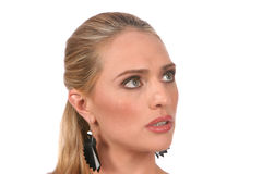 för portrastående för härliga blonda ögon grå kvinna arkivbild