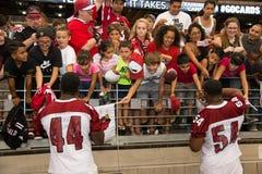 För Pre-säsong för NFL-Arizona Cardinalsfotboll övning träningsläger Royaltyfria Foton