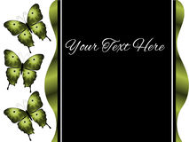 För presentationsglidbana för tre grön fjärilar bakgrund Arkivbilder