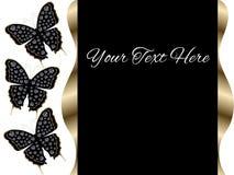 För presentationsglidbana för tre svart fjärilar bakgrund Arkivfoto