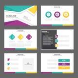 För presentationsmall för lilor gul uppsättning för design för lägenhet för symbol för beståndsdelar för reklamblad för broschyr  Arkivfoto