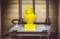 för printingguling för skrivare 3D diagram närbild Royaltyfri Foto