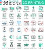 För printingteknologi för vektor 3D linje översiktssymboler för lägenhet för apps och rengöringsdukdesign symbol för printing 3d vektor illustrationer