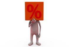för procenthuvud för man 3d begrepp Arkivfoto