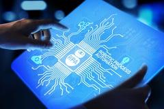 För processautomation för RPA Robotic begrepp för teknologi för innovation på den faktiska skärmen royaltyfri fotografi