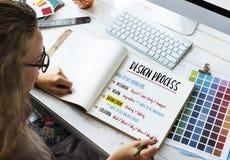 För processlösning för design idérikt begrepp arkivbilder