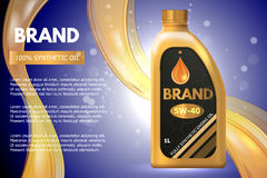 För produktbehållare för motorisk olja annons Illustration för vektor 3d Design för mall för olje- flaska för bilmotor Royaltyfri Fotografi