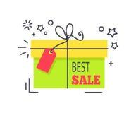För Promoklistermärke för specialt erbjudande packad ask shopping royaltyfri illustrationer