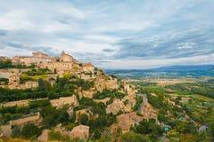 för provence för gordesH-bergstopp by för solnedgång sten Royaltyfria Bilder