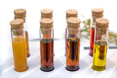 För provrörurin för olje- prov vätskesmå medicinflaskor för prövkopior royaltyfri foto