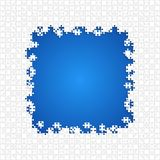 För pusselstycken för ram vita blått - vektorfigursåg Fotografering för Bildbyråer