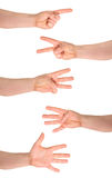 För räkningshand för en till fem fingrar isolerad gest Fotografering för Bildbyråer