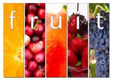 För råkosttranbär för frukt orange sammansatta nya jordgubbar för druvor Arkivbilder