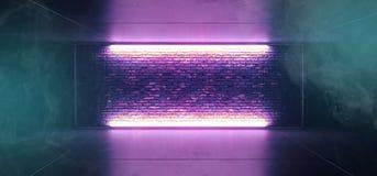 För rökdimma för neon glödande för Sci Fi etapp futuristisk Retro klubba med den tomma tända ramen för frostat exponeringsglas fö stock illustrationer