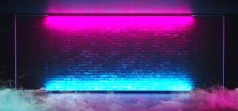 För rökdimma för neon glödande för Sci Fi etapp futuristisk Retro klubba med den tomma tända ramen för frostat exponeringsglas fö vektor illustrationer