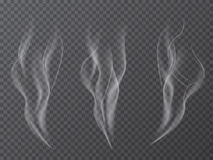 För rökeffekt för vektor som realistisk uppsättning isoleras på genomskinlig bakgrund Arkivbild
