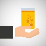 För rörlabb för hand grafisk hållande kemikalie stock illustrationer