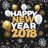 För rabattförsäljning för lyckligt nytt år 2018 baner för illustration För nattfyrverkerier för nytt år design för affisch för be Royaltyfri Bild
