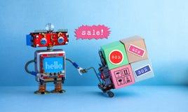 För rabattsäsong för speciala försäljningar affisch för befordran Boxas den rörande shoppingvagnen för den roliga roboten med rab royaltyfri fotografi