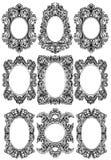 För ramdekor för tappning barock uppsättning Detaljerad prydnadvektorillustration royaltyfri illustrationer