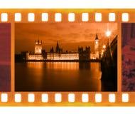 För ramfoto för tappning gammal 35mm film med berömd och härlig sikt Arkivfoton