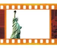 För ramfoto för tappning gammal 35mm film med NY-statyn av frihet, USA Royaltyfria Foton