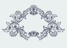 för ramgräns för tappning barock vektor för design för snirkel Royaltyfria Bilder