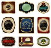 för ramguld för färg dekorativ set för etiketter stock illustrationer