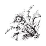 För ramsnirkel för tappning barock prydnad stock illustrationer