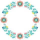 För ramvektor för broderi dekorativ blom- modell, prydnad för textildekor Handgjord stilbakgrund för bohemisk ethno royaltyfri illustrationer