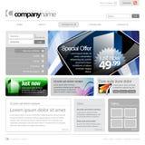 för rastermall för 960 gray website Royaltyfri Fotografi