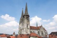 för regensburg för bavariadomkyrkagermany arv gammal en värld för town för stadtamhof lokal Royaltyfria Bilder