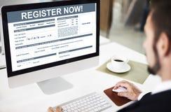 För register ansökningsblankettbegrepp nu royaltyfria bilder