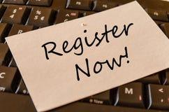 För register begrepp nu på tangentbordet royaltyfria bilder