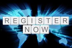 För register tangentbordknapp nu med världsbakgrund arkivbild